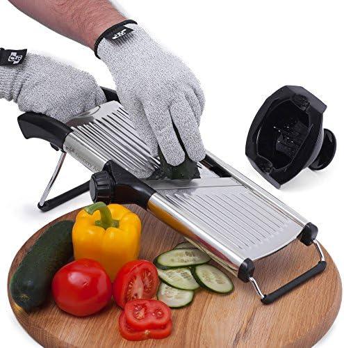 Mandoline Slicer with Cut Resistant Gloves and Blade Guard Adjustable Mandolin Vegetable Slicer product image