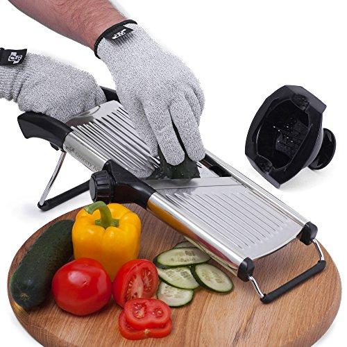Mandoline Slicer with Cut-Resistant Gloves and Blade Guard – Adjustable Mandolin Vegetable Slicer and French Fry Cutter, Food Slicer, Vegetable Julienne – Thick Sharp Stainless Steel Blades (Silver)