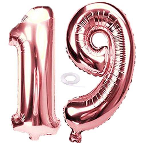 SNOWZAN Luftballon 19. Geburtstag Deko Rosegold Mädchen Zahl 19 Riesen Folienballon Helium Nummer 19 Luftballon Große Zahlen 19 Jahre XXL 19. Happy Birthday 32 Zoll Riese Zahl 19Geburtstag für Party