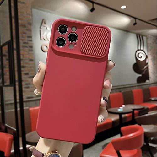 Protección de la Lente de la cámara Funda de Silicona líquida para iPhone 11 12 Pro MAX 8 7 6 6s Plus XR XS MAX X XS 12 Cubierta de Empujar y Tirar de la Lente en el iPhone XS MAX Rojo