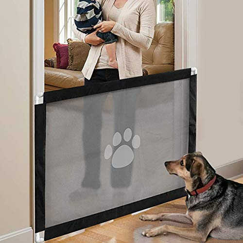 Zhaoyun Pet Gate-Dog-Tor Easy Install Magie Hund Tor Treppengitter for Hunde (Color : Black)