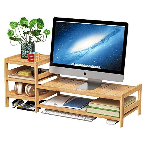 HOMECHO Bildschirm Staender Bambus Monitorständer mit stauraum Bildschirmerhöhung Schreibtischaufsatz organizer als Schreibtisch Organizer für Laptop, Computer, Notebook, iMac, PC 85 x 30 x 33 cm