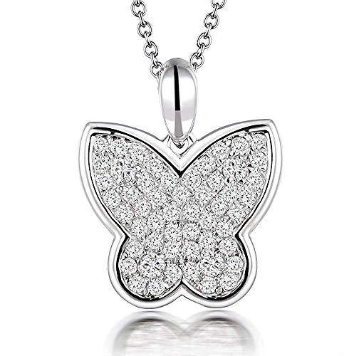 Lanmi 14/18-karaats witgoud unieke natuurlijke diamant-hanger-halsketting verbindingsstuk huwelijkscadeau voor vrouwen, type edel: vlinder