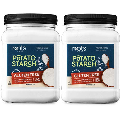 Roots Circle Gluten-Free Potato Starch | 2 Pack of 21oz Jars 100% Pure Potato Flour No Preservatives or Artificial Ingredients | Kosher for Passover Thickener for Soups Stews, Gravies & Sauces