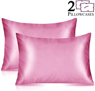 Furnishop 2 Pack Standard Silky Satin Pillowcase for Hair and Skin, Facial Beauty Hypoallergenic, Super Soft and Luxury Pillow Cases Covers with Envelope Closure (Standard: 20x26, Pink)