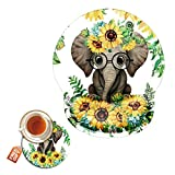 Mouse Pad with Wrist Support Gel Ergonomic Gaming Mousepad with Wrist Rest for Laptop Elephant Sunflower Computer Home Office Working Mouse Mat + A Cute Coffee Pad