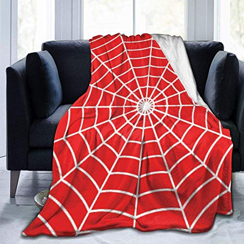 "NR Fleece Blanket 50""x 60"" - White Cobweb on Red Nature Spiderman Throw Blanket in Fluffy Soft Plush Flannel for Bed/Sofa/Sofa/Office/Camping"