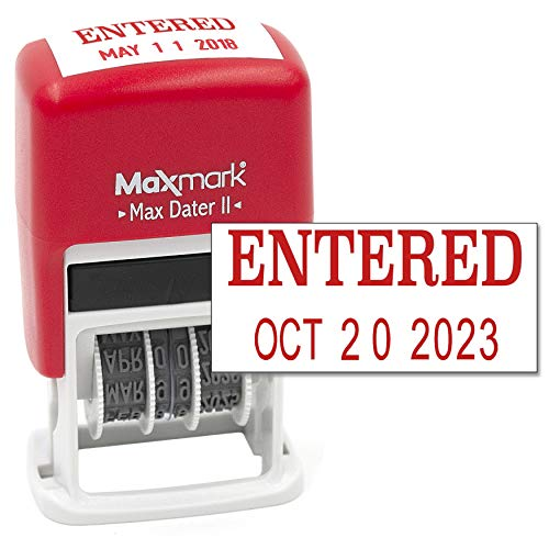 MaxMark Self-Inking Rubber Date Office Stamp with Entered Phrase & Date - RED Ink (Max Dater II), 12-Year Band