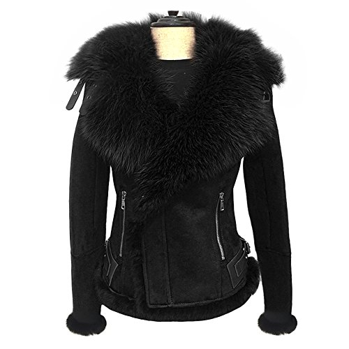She'sModa Celeb Real Fox Fur Lapel Suede Leather Jacket With Thick Fleece Women's Winter Coat Moto Jacket S Black