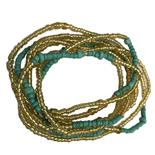 Casecover Taille Perlen Bunte Handgemachte Stretchy Elastische Schnur Reis Wulstige Freundschaft Armband Afrikanische Bauchkette Körper-Kette Sommer Bikini-schmucksachen Für Frauen-mädchen
