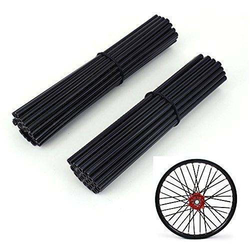 Enveloppe de protection en plastique Spoke Cover Protector Skins pour Motocross Dirt Bike Enduro - Noir