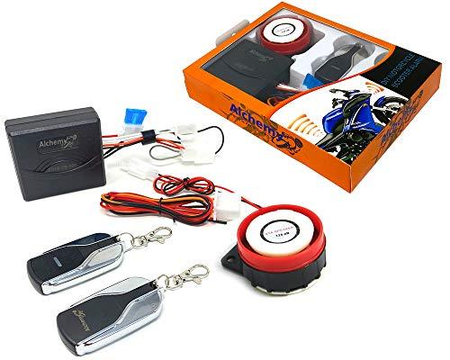 Moto Compact Sistema de Alarma 12V 12 Voltio con Control Remoto - Ajuste Universal para Motocicleta Scooter Quad Moto - No Intrusivo - sin Corte Cables