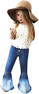 ModnToga Little Girl's Vintage Jeans Bell-Bottoms Denim Pants Skinny Pants 2-6T