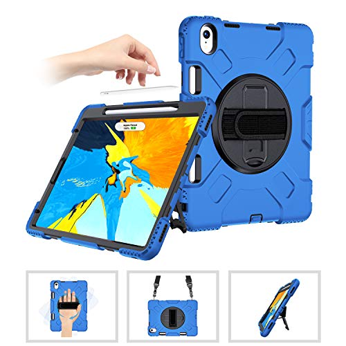 SUPFIVES iPad Pro Case 11 with Pencil Holder [Support Apple Pencil Charging/Magnetic Attachment]+Hand Strap+Shoulder Strap+Swivel Stand Heavy Duty Drop Proof Handle Case for iPad Pro 11 2018-Blue