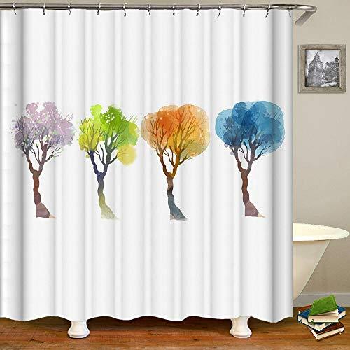 XCBN Cortinas de baño 3D Plantas Verdes Flores Hojas Cortinas de Ducha Impresas decoración del hogar con Ganchos Cortinas de baño A15 180x180cm
