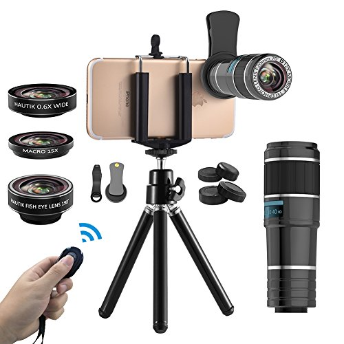 Vorida Phone Camera Lens, 6-in-1 Cell Phone Camera Lens, 12X Telephoto Lens+198° Fisheye Lens+0.6X Wide Angle Lens+15X Macro Lens+Tripod+Remote Shutter Compatible for iPhone X 8 7 6 Plus Samsung etc.