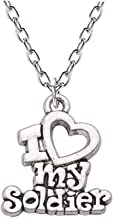 925 Sterling Silver Plated Engraved I LOVE MY Soldier Charm encouraging Gift Pendant Necklace,20''