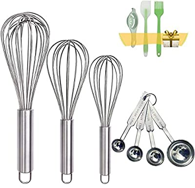 """Stainless Steel Whisk, Whisk Set with Measuring Spoon and 8""""+10""""+12"""" Wire Whisk for Cooking, Blending, Whisking, Beating and Stirring, Enhanced Version Balloon Whisk"""