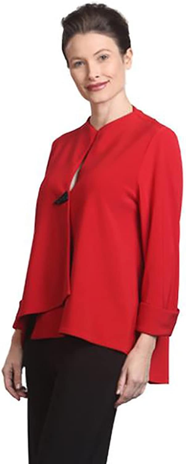 IC Collection Solid Asymmetrical Jacket in Red  9173JRED