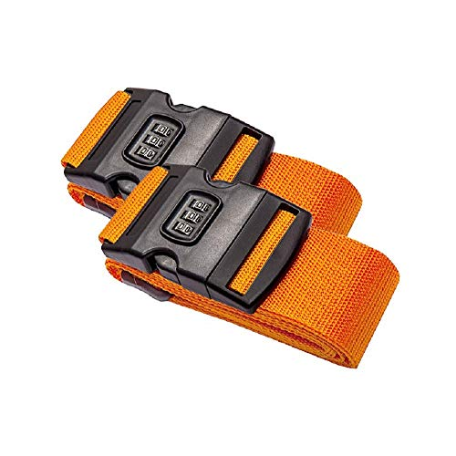 DoGeek Luggage Straps 2 Pack Adjustable Suitcase Straps Travel Packing Suitcase Belt with Lock (3 Colors)