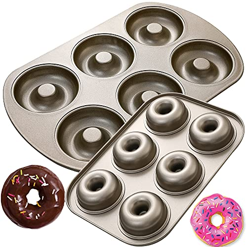 6 Cavity Nonstick Donut Pan, 2 Size Donut Baking Molds, Carbon Steel Donut Mold for Mini Bagels Doughnuts Cake, Oven Safe, Regular 3.5″ and Mini 2.5″