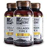 3 Pack Collagen Pills Type 2 for Healthier Joints - Grass Fed Beef Collagen Hydrolyzed Type 2 Capsules with Vitamin C and Hyaluronic Acid by Active Supreme