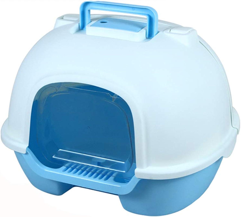Fully Enclosed Cat Sand Basin, Super Large AntiSplash, AntiOdor, Cat Supplies(50cm41cm39cm,bluee)