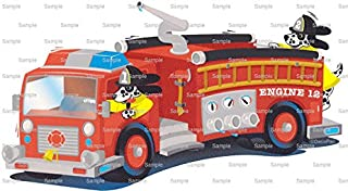1/4 Sheet - Red Fire Truck Birthday - Edible Cake/Cupcake Party Topper - D746
