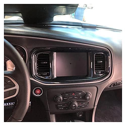 shiqi Addominali Consolle Centrale in Fibra di Carbonio Dashboard Dashboard Navigazione Condizionatore d'Aria Outlet Cover Trim Panel Fit for Dodge 2015-2020 (Color Name : Brown)