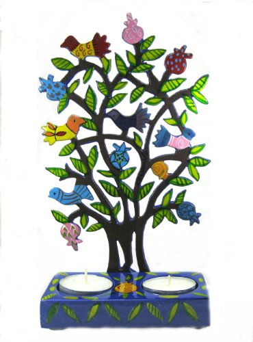 Candelieri, motivo: uccelli su un albero di Natale Candela al melograno e bastoncini per shabbath candelieri, ideale come regalo