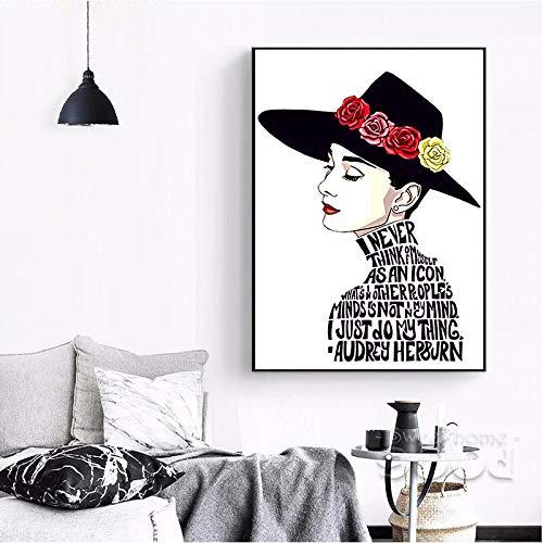 YHZSML Arte de la Pared Pintura al óleo Cartel Decorativo Moderno El Cuadro Abstracto de Audrey Hepburn para Sala de Estar en Lienzo 50x70cm