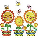 22 Pieces Spring Flowers Bulletin Board Cut-Outs Set Springtime Blooms Colorful Butterfly Bee Snail Flower Pots Sunflower Cutouts Classroom Decoration Cutouts with Glue Point Dots for Spring Party