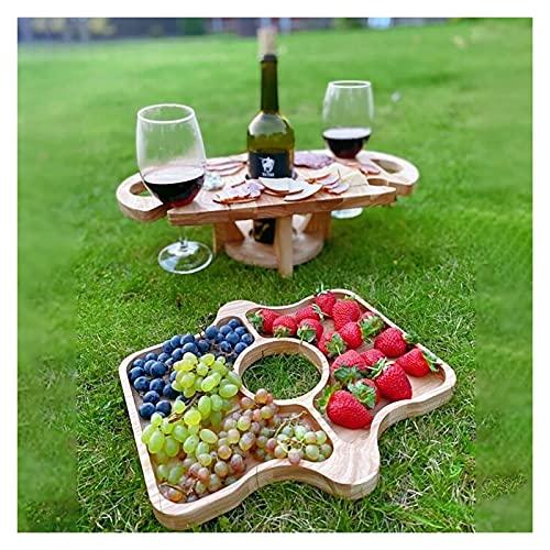Mesa de vidrio de vino, mesa de picnic plegable, mesa plegable portátil, mesa de fruta de vino plegable portátil para al aire libre Mesa de desmontaje Mini de madera Mini de madera Fácil de transporta