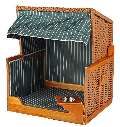 Mr. Deko Hundestrandkorb PE beige Dessin grün gestreift inklusive Schutzhaube für Garten, Terrassen, Wohnzimmer, Strandkörbe, Hundekorb, Körbchen, Strandkorb, Hund, Katze, Hundebett, Napf, Hundehütte