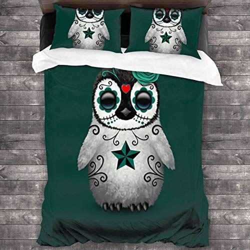 Maja Shop Teal Blue Day of The Dead Sugar Skull Penguin Unisex 3-Piece Bedding Set 86'X70' with Zipper Closure Super Soft Microfiber Comforter Cover with Pillowcase for Bedroom Guest Room and Hotel