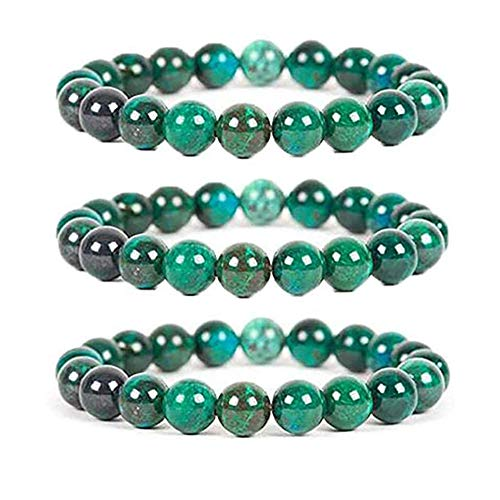 DSFKS Diabetes Relief Chrysocolla Bracelet?,Handcrafted Natural Chrysocolla Malachite Gemstone Crystal Energy Beaded Bracelets 8mm,Gift For Mother's Day/Father's Day (3pcs)