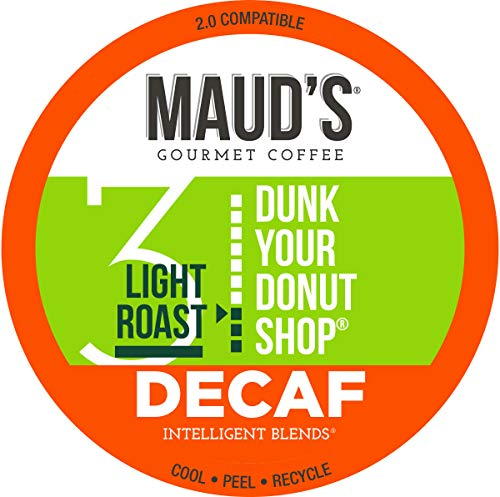 Maud's Decaf Donut Shop Coffee (Dunk Your Donut Shop), 100ct. Solar Energy Produced Recyclable Single Serve Donut Shop Decaf Coffee Pods - 100% Arabica Coffee California Roasted, KCup Compatible