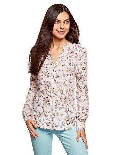 oodji Collection Mujer Blusa de Viscosa Estampada, Marfil, ES 46 / XXL