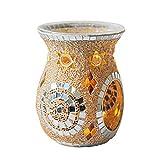 Fenteer Quemador de aceite de vidrio de mosaico, quemador de aceite de fragancia, Sostenedor de fusión de cera de candelitas para regalos y decoración del - de plata