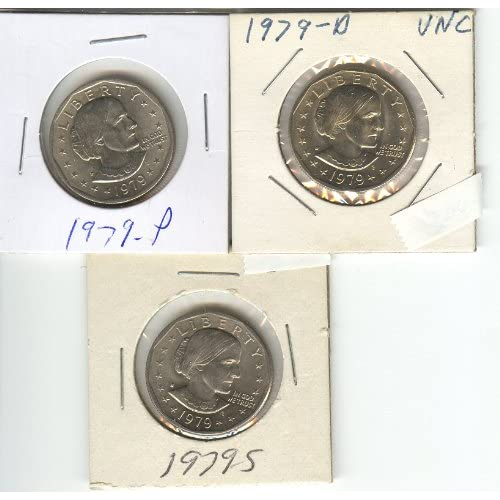 In Mint Cello BU 1980 P,D/&S Susan B Anthony Dollars 3-Coin Set