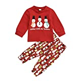 Christmas Infant Newborn Baby Boys Girls Snowman Pattern Clothes Set Long Sleeve Top and Pants 2PCs Outfits Fall Clothes (Red, 12-18 Months)