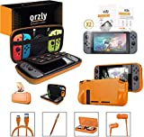 Orzly Nintendo Switch Accessoire, Pack de (Étui Rigide pour Switch, Protecteurs d'écran en Verre Trempé, Câble Type C, Coque Comfort Grip, Écouteur, Stylo, Boite de Jeux) Orange