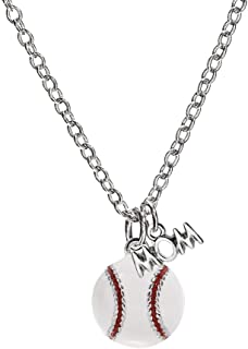 Baseball Enamel Mom Necklace Jewelry Womens Girl Gift