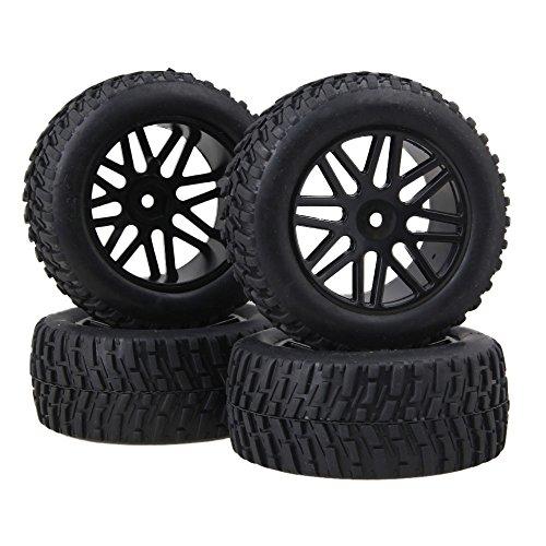 BQLZR 12mm Sechskant Schwarz Kunststoff 16 Speichen Felge + Rallye Gummireifen für RC1: 10 Off Road Buggy 4er Pack