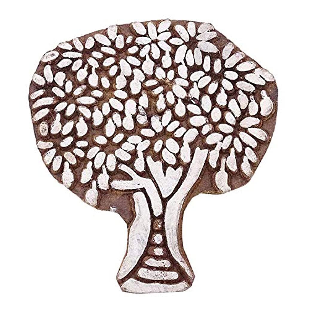 Handcarved Decorative Tree Wood Block Art Wooden Textile Stamp Printing Block