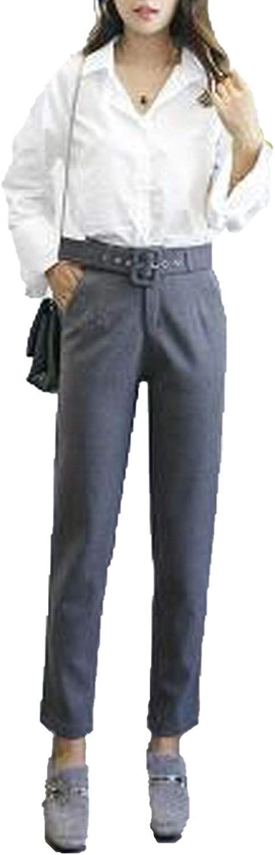 2018 Winter Autumn Woolen High Waist Women Pencil Pants Casual Belted Wool Harem Pant