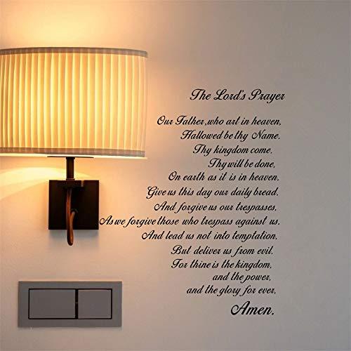 pegatina de pared frases La Biblia de oración del Señor Nuestro Padre Arte de la pared Cita de las Escrituras Fe Casa Cristiana Decoración Pegatinas para sala de estar