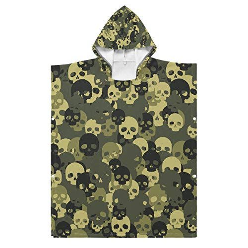 LENNEL Kapuzen-Strandtuch für den Pool Hot Spring Water Park Kinder Green Camouflage Skull Cotton Soft Fun 27,55 x 27,55 Zoll Bademantel Cape