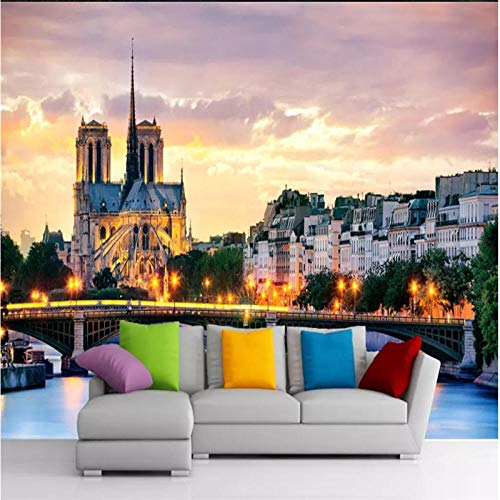 Custom Wall Paper 3D Hd France Notre Dame De Paris Night View Color Photo Wallpaper Black and White Mural Wallpaper-430300Cm