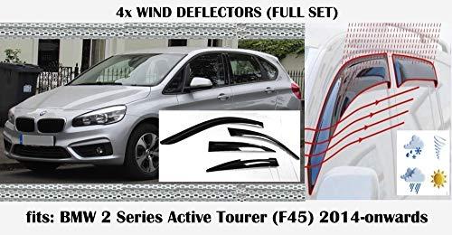 OEMM Windabweiser, kompatibel mit BMW 2er F45 Active Tourer Fensterabweiser 2014 2015 2016 2017 2018 2019 2020 Acrylglas Seitenblenden PMMA